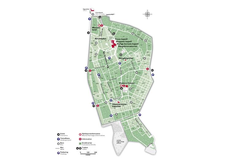 Karta över Skogskyrkogården, kartritare och kartillustratör Per ...